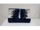 POCHETTE FOND marine scintillant galon fourrure marine et galon argent