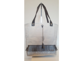 MINI SAC FOND SIMILI ARGENT FRANGES MORDORE BIJOU CHAINETTE